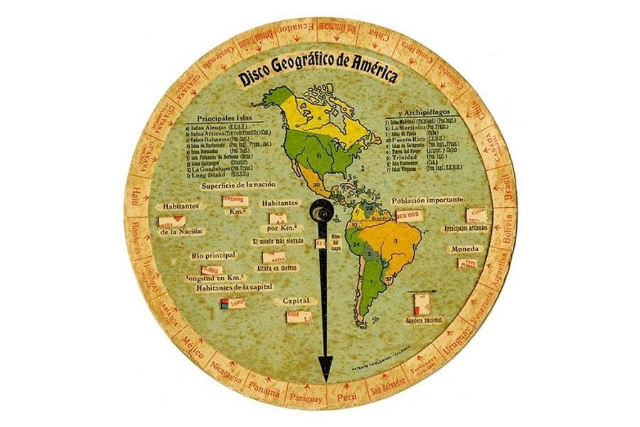 Disco geográfico a color de los años cuarentadedicado al continente americano