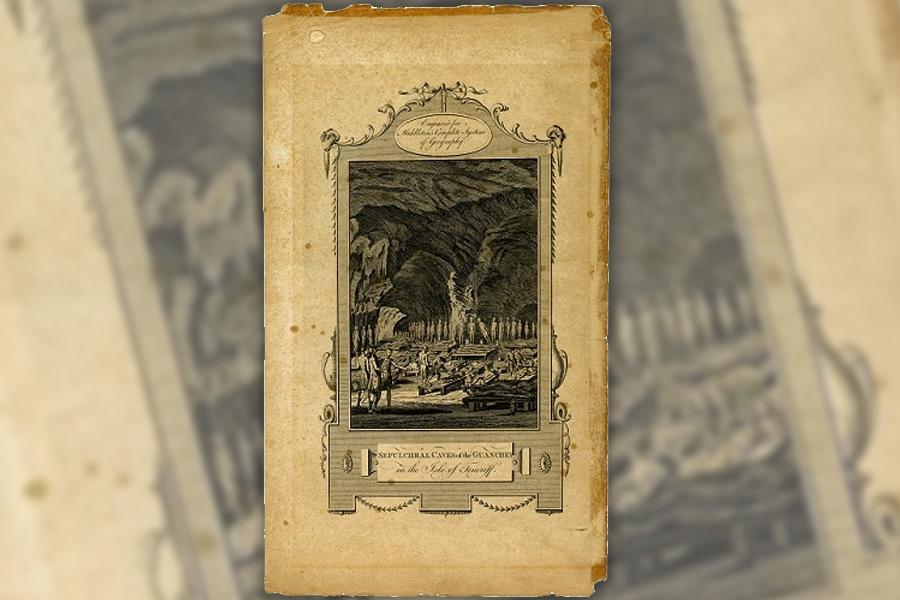 Magnífico grabado que representa un sepulcro guanche en una cueva de la isla de Tenerife