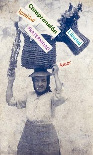 Instantánea de una gangochera con una serie de palabras en la cesta.